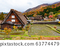 The Village of Shirakawa, a world heritage site, with its traditional houses with gassho-zukuri-style roofs at daylight in autumn 63774479