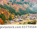 The Village of Shirakawa, a world heritage site, with its traditional houses with gassho-zukuri-style roofs  from the belvedere in daylight in autumn 63774564