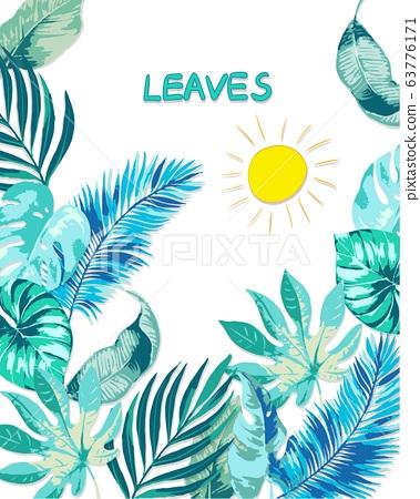 抽像美麗的藍綠色矢量熱帶葉子 63776171