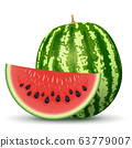 Ripe Watermelon with Red Section 63779007