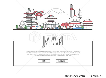 Travel Japan poster in linear style 63780247