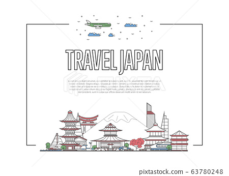 Travel Japan poster in linear style 63780248