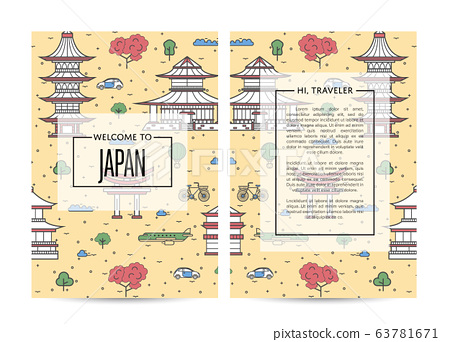Japan traveling banners set in linear style 63781671