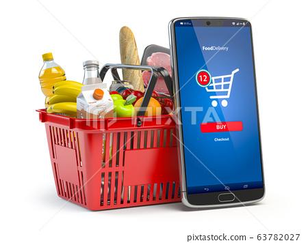 Shopping basket with fresh food isolated on white. 63782027