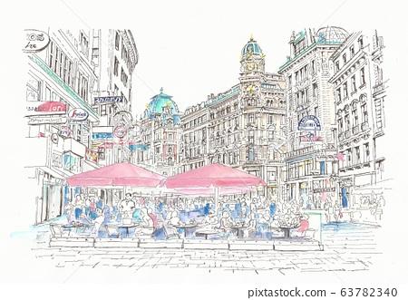 世界遺產天際線 - 咖啡館露台在奧地利,維也納環 63782340