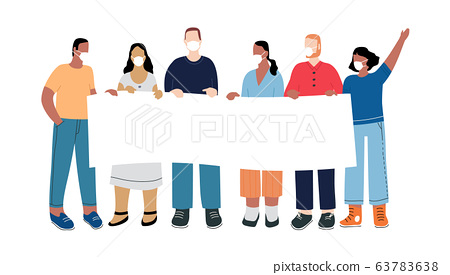 A group of people protest with a transparency against unemployment caused by the epidemic of the coronavirus COVID-19. Illustration in a flat style. 63783638