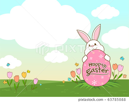 Happy Easter banner with Rabbit and Easter eggs illustration vector 63785088