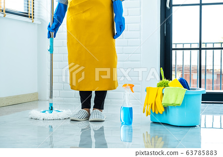 Housekeeping and cleaning concept, Happy young 63785883