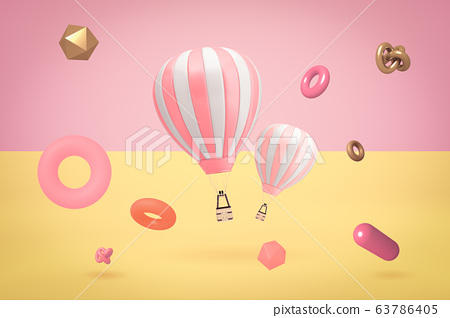 3d rendering of two hot air balloons with random objects on two color background 63786405