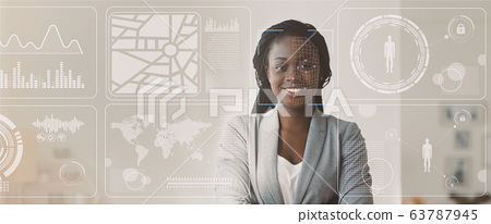 Data of African American businesswoman, double exposure of office with info on virtual display, blank space. Panorama 63787945