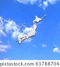 Japan map in blue sky 63788704