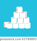Stack of toilet paper isolated on blue background. Deficit of toilet paper concept illustration.Self isolation concept 63789893