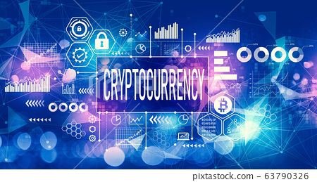 Cryptocurrency theme with technology light background 63790326