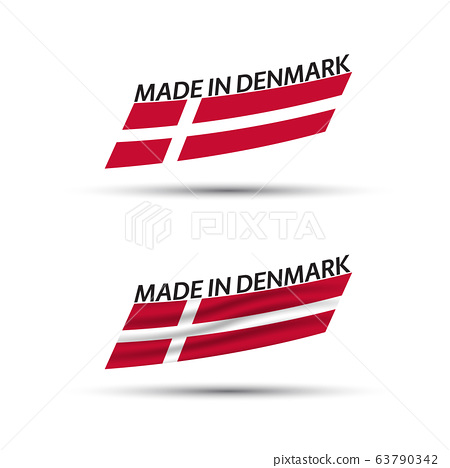 Two modern colored vector Danish flags isolated on white background, flags of Denmark 63790342