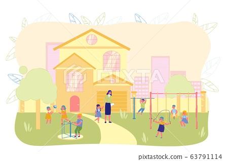 Children Play Outside in Front Kindergarten Yard. 63791114