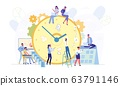 Close up Alarm Clock with Tasks and Events Flat. 63791146