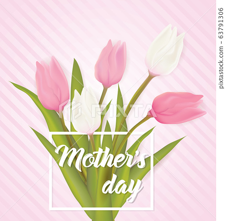 Greeting card with tulip flowers 63791306