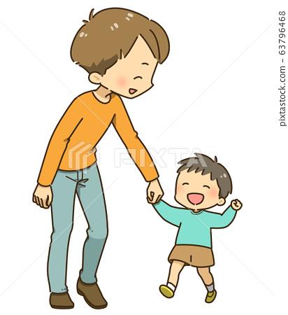 抱著父親和兒子 63796468