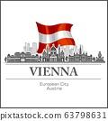 Vienna City skyline black and white silhouette. Vector illustration. 63798631