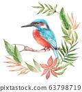 Watercolor Bird Kingfisher On Branch 63798719