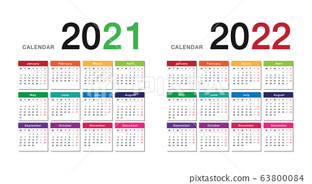2022 2023 Calendar.Colorful Year 2021 And Year 2022 Calendar Stock Illustration 63800084 Pixta