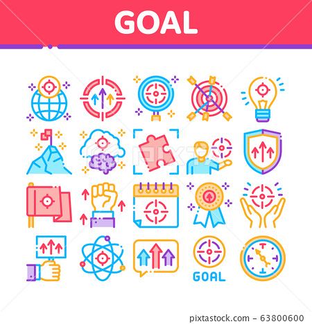 Goal Target Purpose Collection Icons Set Vector 63800600