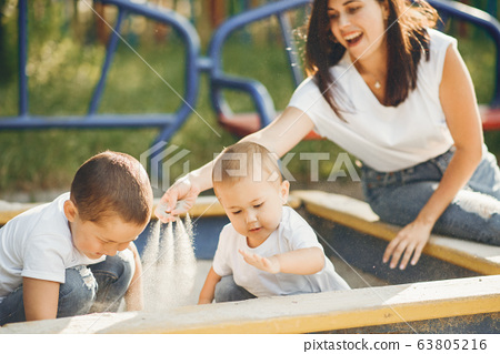 Mother with little child on a playground 63805216