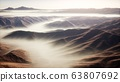 mountain landscape with deep fog at morning 63807692