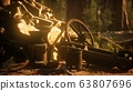 Preparation of firewood for the winter in forest 63807696