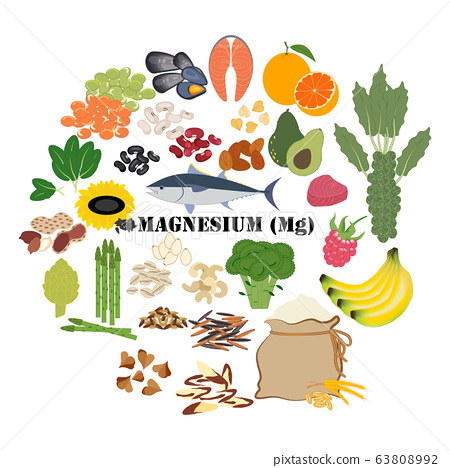Magnesium Mg mineral healthy organic nutrition vector illustration 63808992