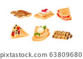 Rolled Crepes or Blinis with Jam and Chocolate Stuffing Vector Set 63809680