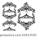 clothes hanger and vintage style frame with rose flowers black vector design 63814595
