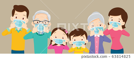 big family  wearing a surgical mask to prevent 63814825