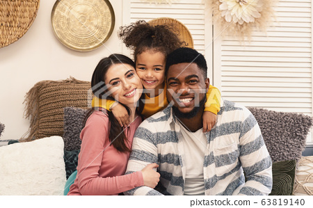 Happy multiracial family portrait, stay at home 63819140
