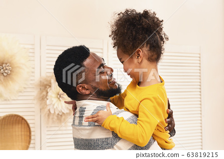 African american dad and daughter have fun and hugs 63819215