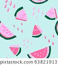 Handwritten watermelon seamless pattern 63821913