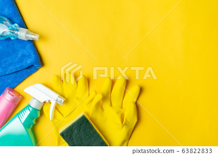 cleaning set for housecare, cleaning for COVID-19 coronavirus epidemic. Top view 63822833