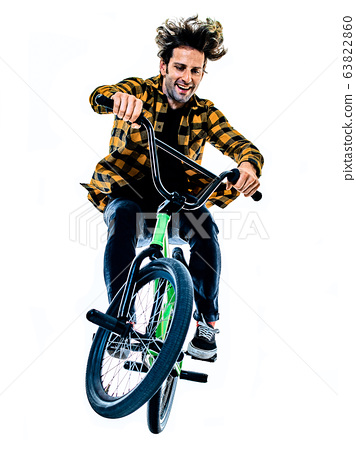 BMX rider cyclist cycling freestyle acrobatic stunt isolated white background 63822860