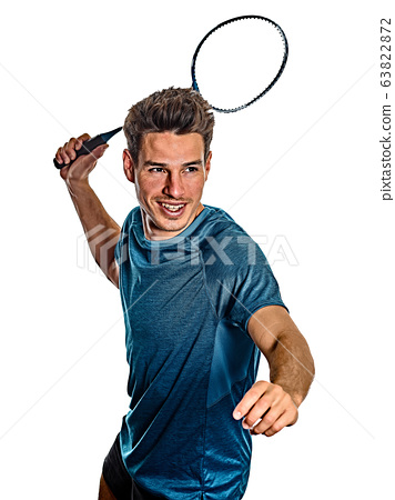 Badminton player young man isolated white background 63822872
