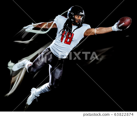 american football player man isolated black background light painting 63822874