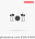 Drums flat vector icon 63823469