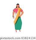 Indian woman in sari dress - cartoon girl in traditional saree costume 63824134