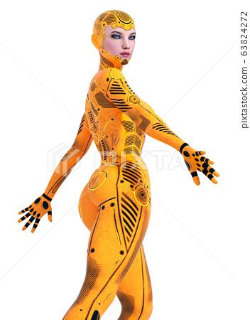 Humanoid robot isolated on white background 63824272