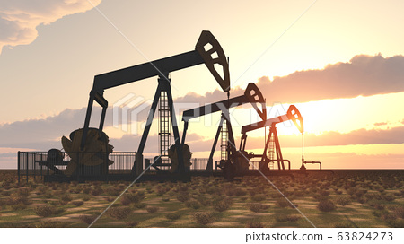 Oil pumps at sunset 63824273