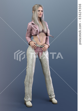 Beautiful woman in motorcycle outfit 63824308