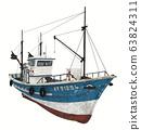 Fishing trawler isolated on white background 63824311