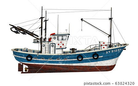 Fishing trawler isolated on white background 63824320