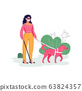Blind woman character with guide dog flat sketch vector illustration isolated. 63824357
