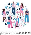 University education concept with students, flat cartoon vector illustration. 63824385