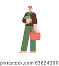 Male cartoon student standing holding books and bag 63824390